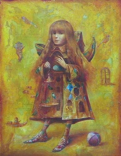 Девочка с изумрудными птичками - картина С.Н.Лукьянова