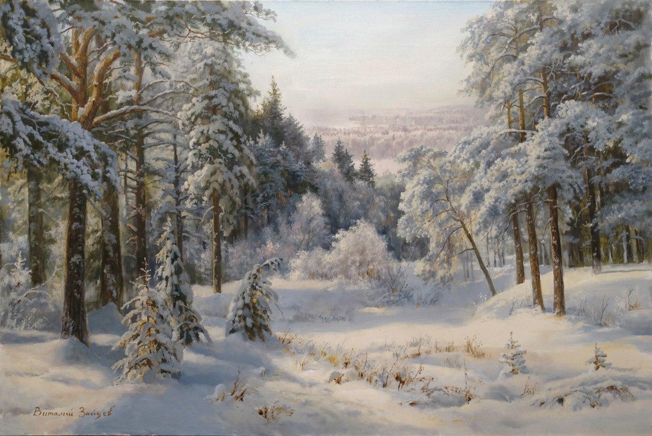 Картина зимний лес шишкин